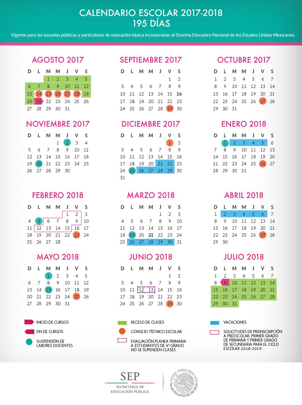 Calendario Escolar 2017-2018 (195 días)