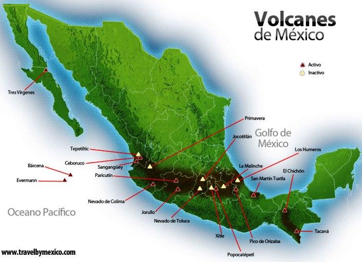 Volcanes activos e inactivos de México