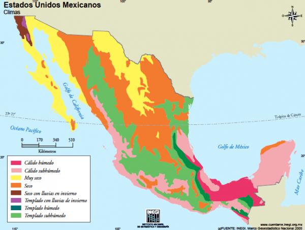 ¿Cuáles son los diferentes tipos de climas en México?