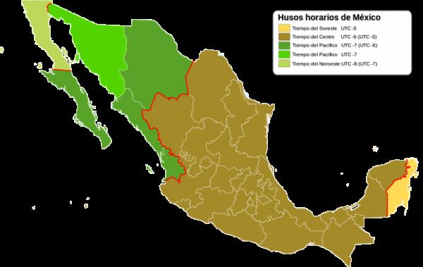 Husos horarios de México