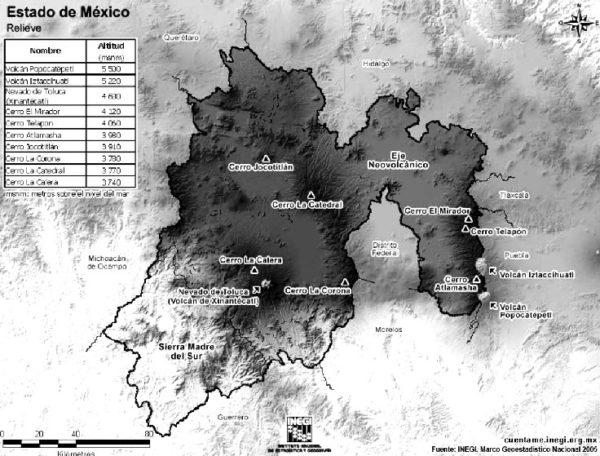 Principales formas de relieve del Estado de México